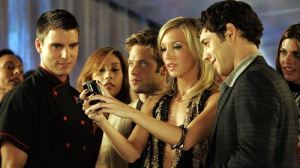 The Cast of The New Melrose Place: Colin Egglesfield as Auggie Kirkpatrick, Shaun Sipos as David Breck, Katie Cassidy as Ella Simms and Michael Rady as Jonah Miller