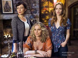 Lindsay Price as Joanna Frankel, Rebecca Romijn as  Roxanne Torcoletti, and Jamie Ray Newman as Kat Gardener in Eastwick