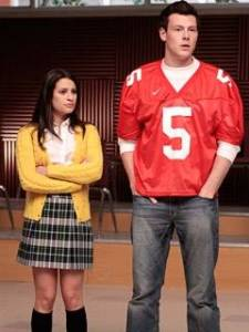 Lea Michelle as Rachel Barry and Cory Monteith as Finn Hudson in Glee